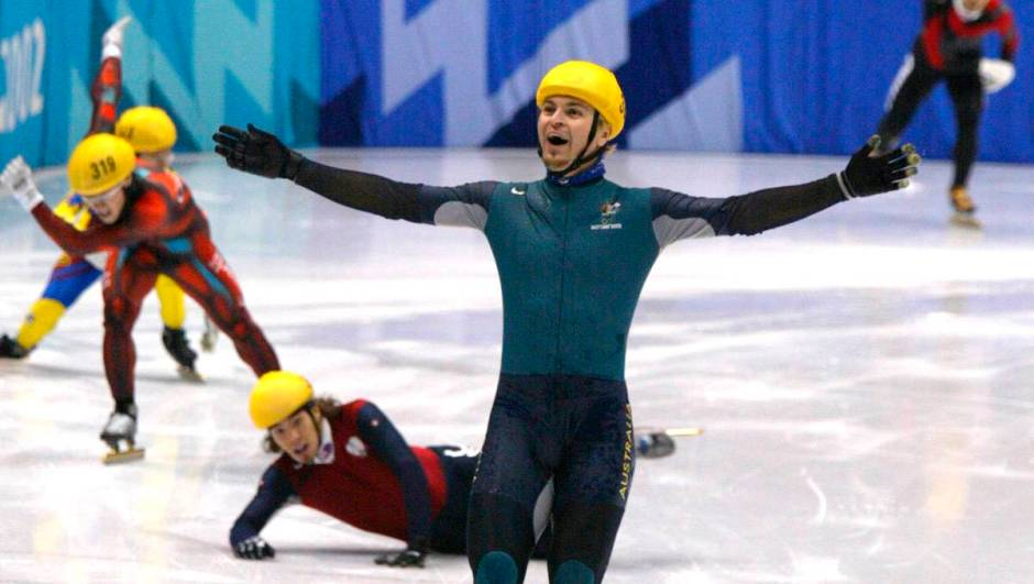 Steven Bradbury wins gold_salt lake city