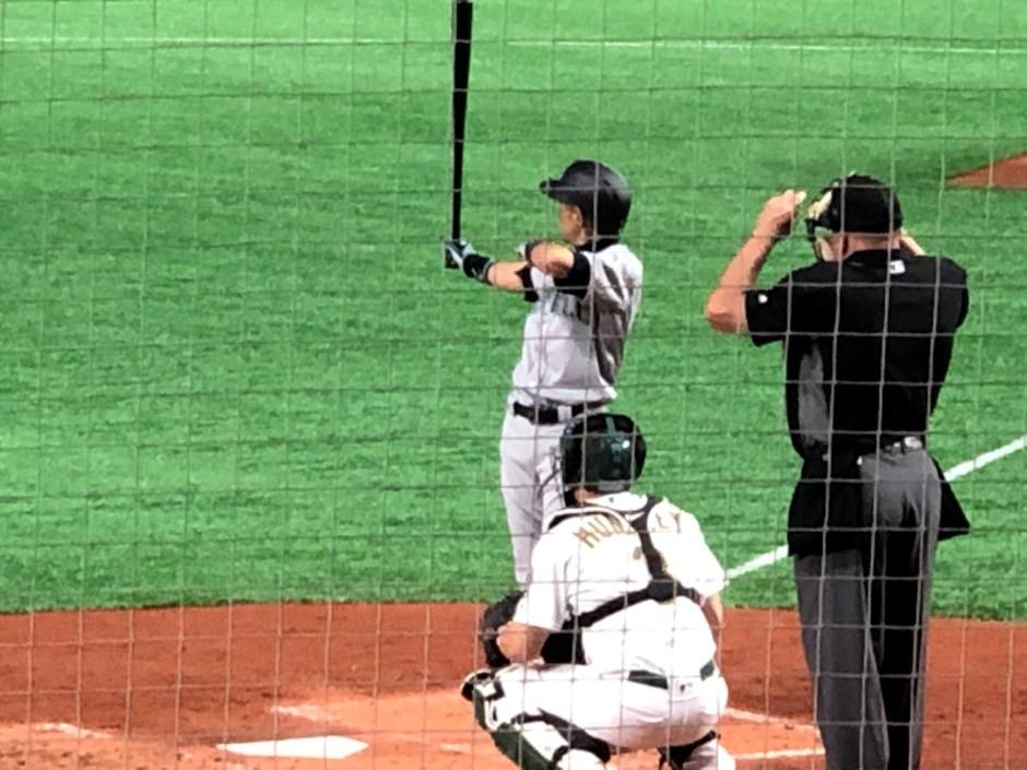 Ichiro in the batters boxOpening day 2019