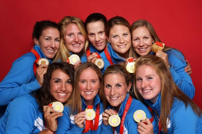 Caryn Davies and 2008 gold medal winning women eights