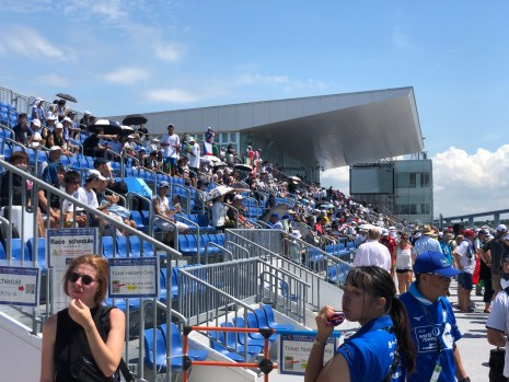 The unshaded grandstand