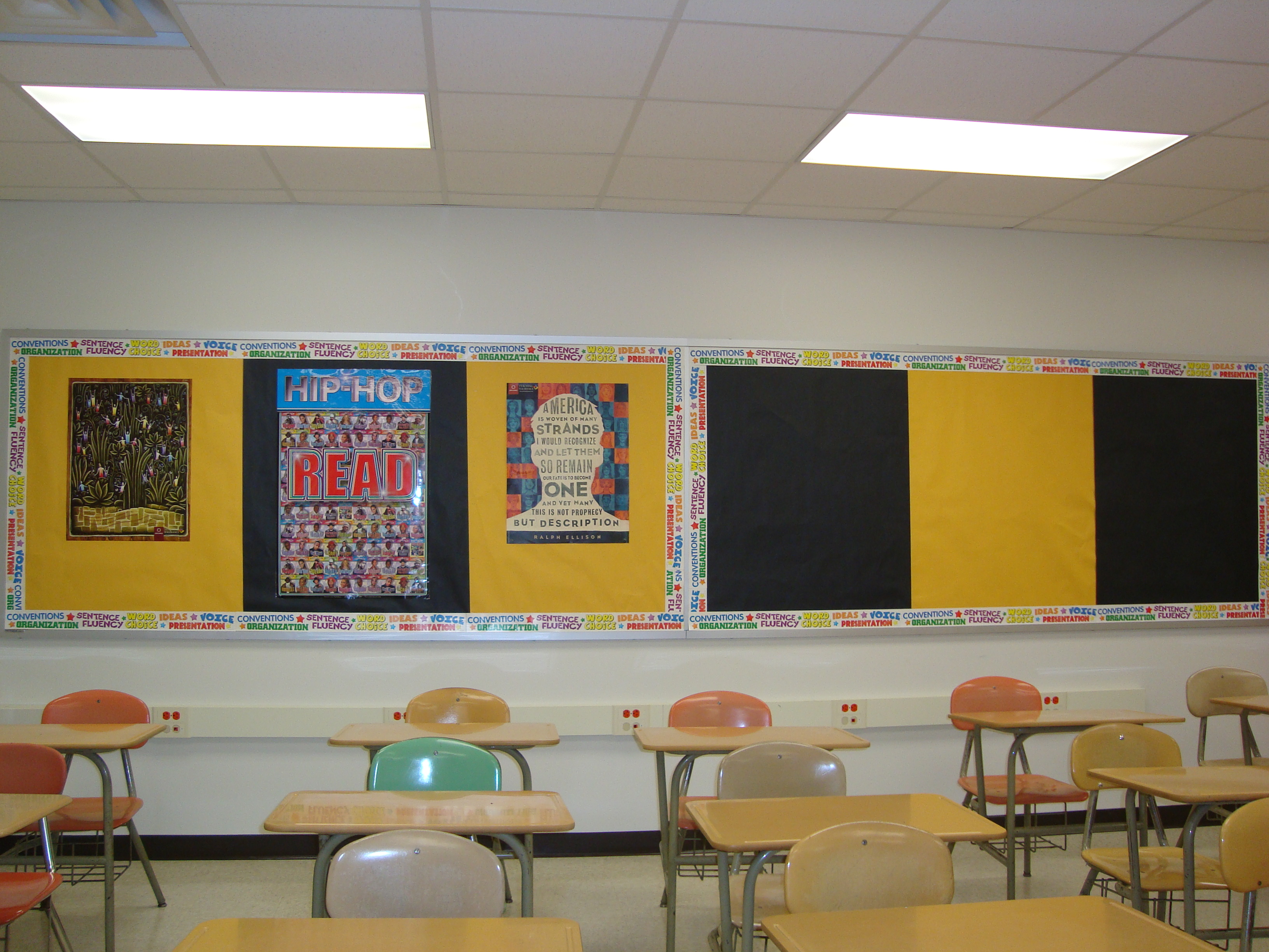 My bulletin boards, I reserved one for student work