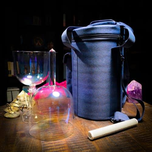 tall denim crystal singing bowl case