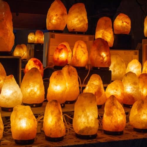 group Himalayan salt lamps lit