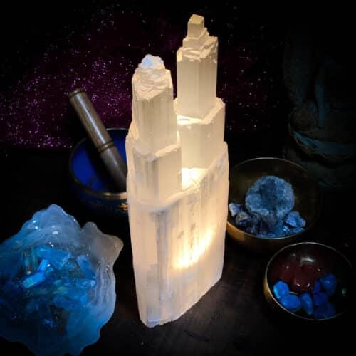 Selenite Lamp Double Tower