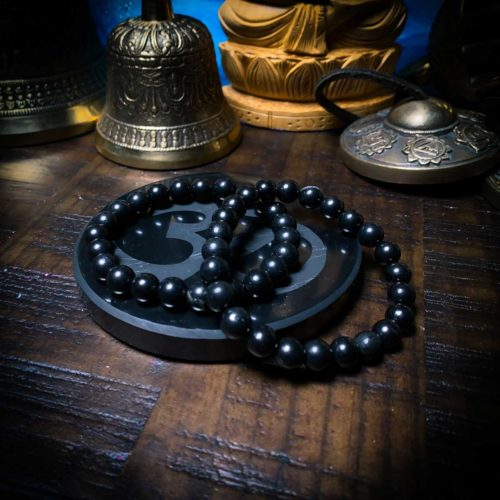 Shungite Bead Bracelet adjustable at the om shoppe