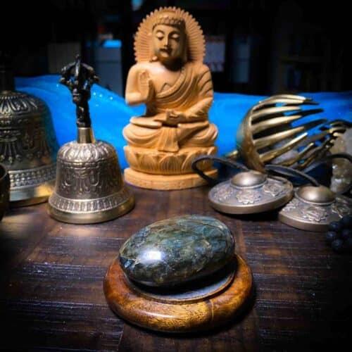Labradorite Palm Stone with Buddha