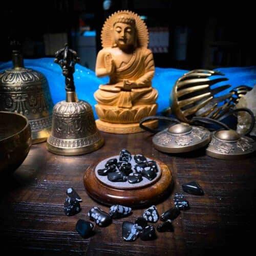 Snowflake Obsidian Chips for Meditation