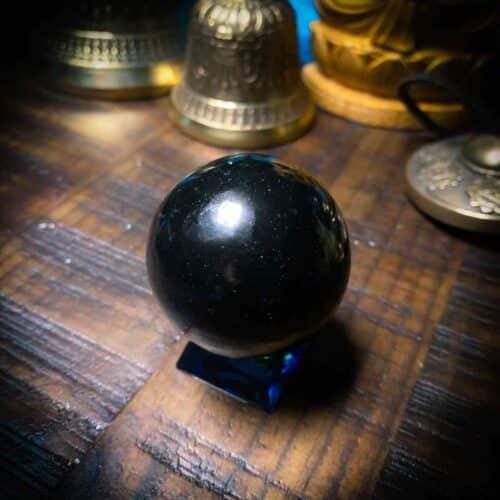 Shungite sphere overhead view