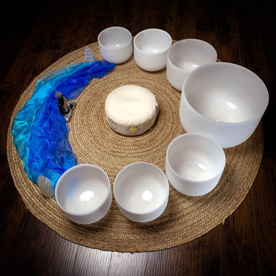 Crystal Singing Bowl 7 Bowl Chakra Set From The OM Shoppe with Blue Scarf and Zafu
