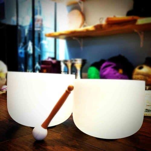 Two crystal singing bowls ying yang harmony set the om shoppe & spa