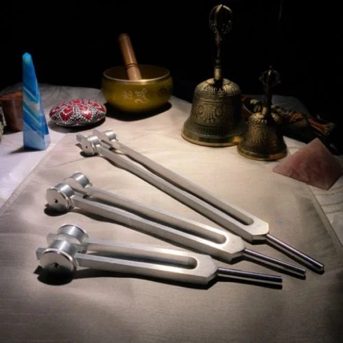 Set of 3 tuning forks for Earth Toning at The OM Shoppe & Spa