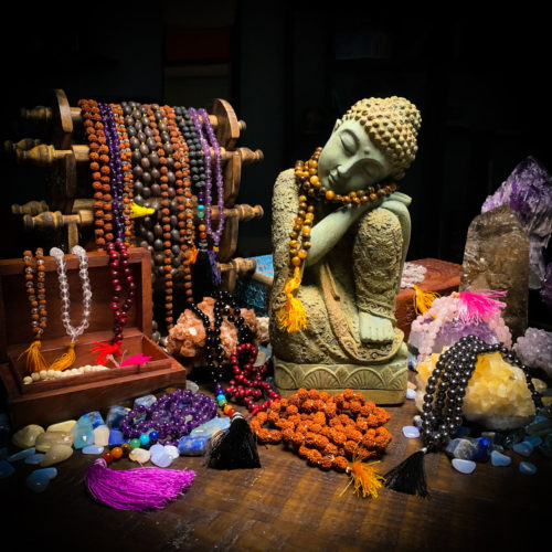 108 Bead Chanting Prayer Mala at The OM Shoppe Vairety of Crytals and Wood
