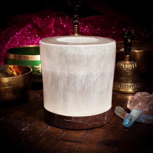 """Selenite and Orthoceras Fossil Candle Holder 5"""" x 5"""""""