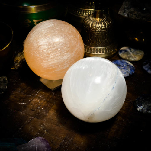 Peache and white selenite sphere with stand 50-60mm