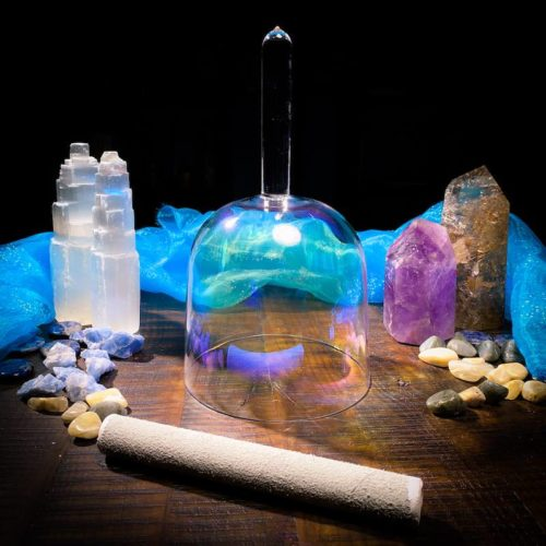 Rainbow handle crystal singing bowl with suede mallet