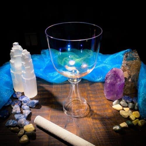 Grail Handle Rainbow Crystal Singing Bowl standing