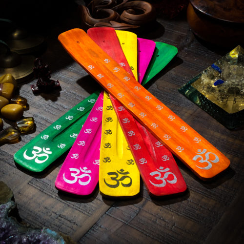 Variety of Colors wooden incense burners the om shoppe