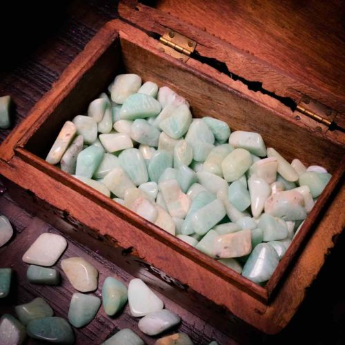 Close-up of Small Amazonite tumbled for courage