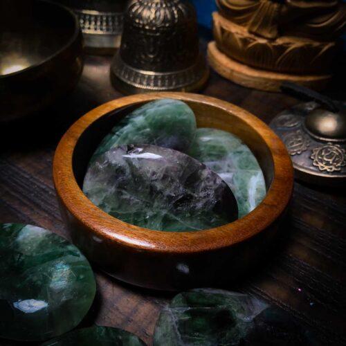 Fluorite Palm Stones Close-up