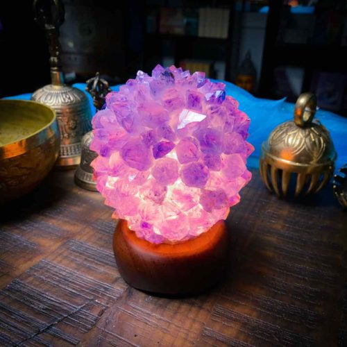 Beautiful Purple Amethyst Crystal Lamp Glowing