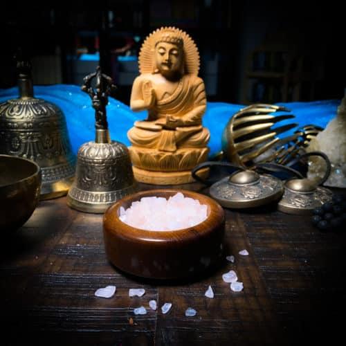 rose quartz chips meditation setup