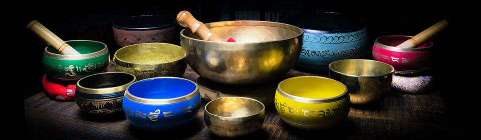 Colorful Tibetan Singing Bowls on a table