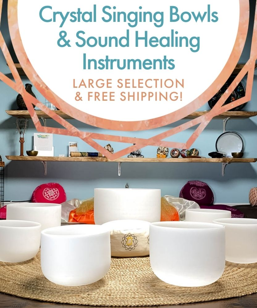 Crystal Singing Bowls in a circle: Premium Crystal Singing Bowls and Sound Healing Instruments. Large Selection & Free Shipping!