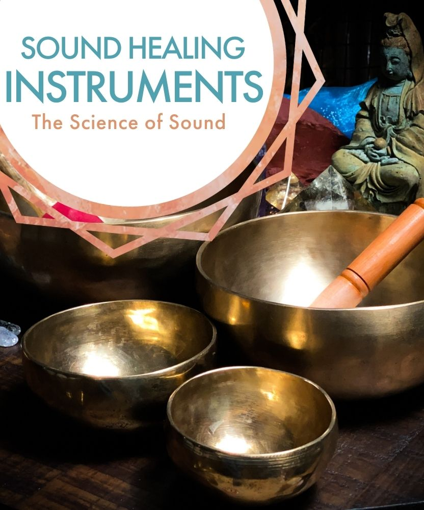 Sound Healing Instruments: The Science of Sound; Tibetan singing bowls close up on a table