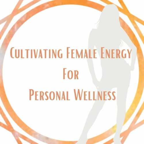 Geometric orange shape on white background saying cultiviating female energy for personal wellness with a shadow of a woman a class at the om shoppe with dr jenna peterson