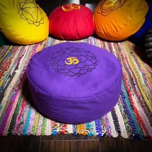 Purple meditation cushion zafu with sanskrit third eye symbol for sale at the om shoppe