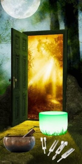magical door image representing subconciuos mind with singng bowls