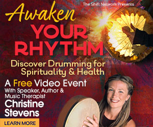 Woman with drum promoting Awaken Your Rhythm with Christine Stevens