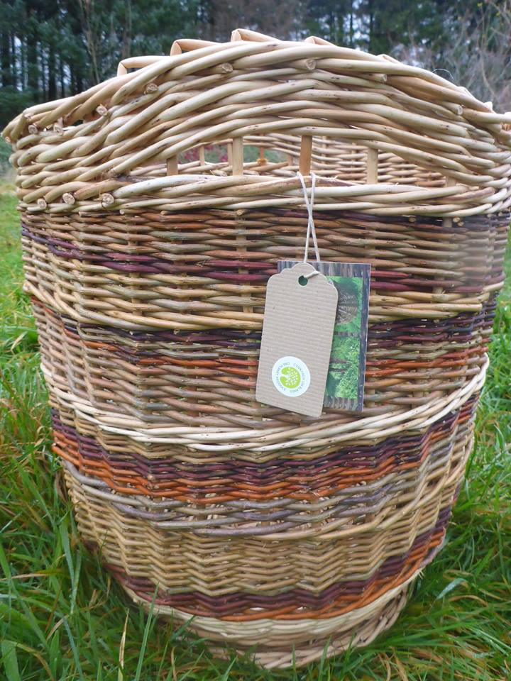 wicker baskets with one planet produce label