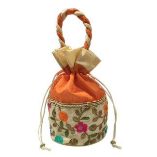 Two Colour Potli With Floral Design