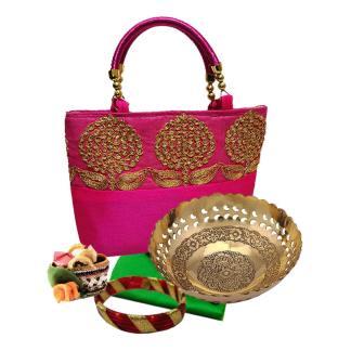 Combo Floral Sitara Handbag Brass Fruit Bowl