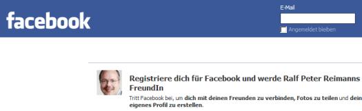 Facebook-Profil - nur nach Anmeldung sind alle Inhalte zugänglich.