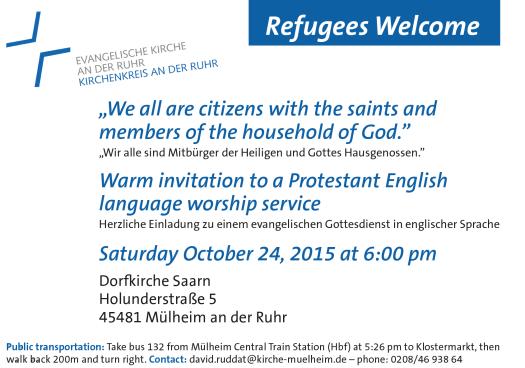 Einladung zu englischen Gottesdiensten