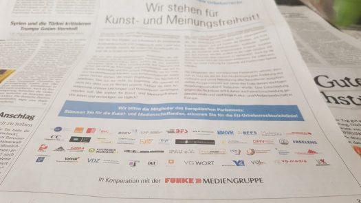 Anzeige zur Urheberrechtsnovelle