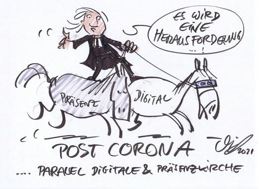 Post-Corona-Kirche (Cartoon von Michael Hüter)