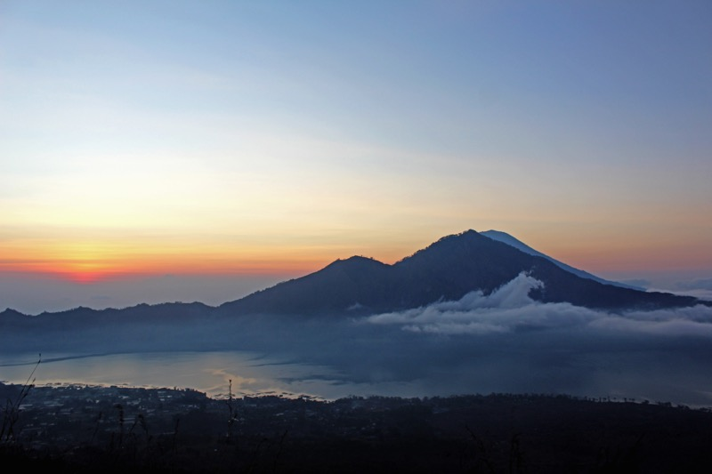 Sunrise at the top of volcano Bali
