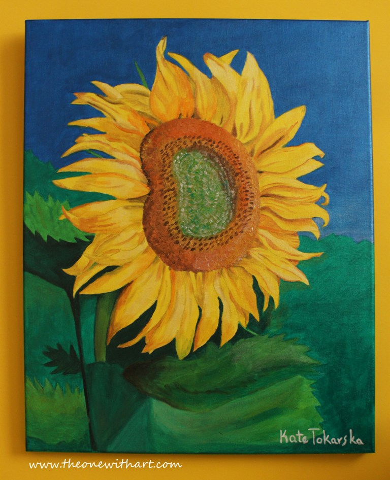 Sunflower painting sunflower step by step acrylic for How to paint sunflowers in acrylic