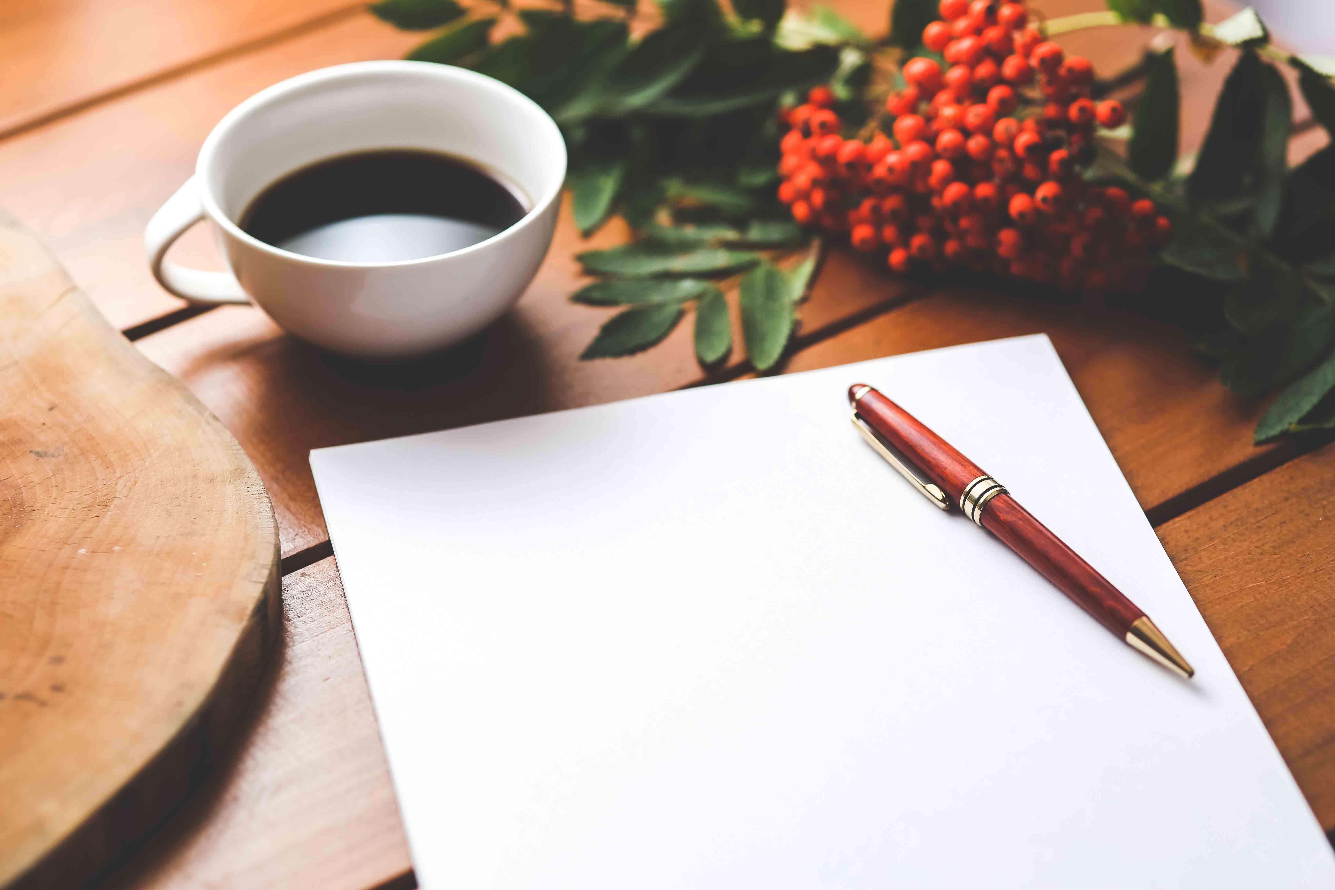 Writing, pen, paper, grapes