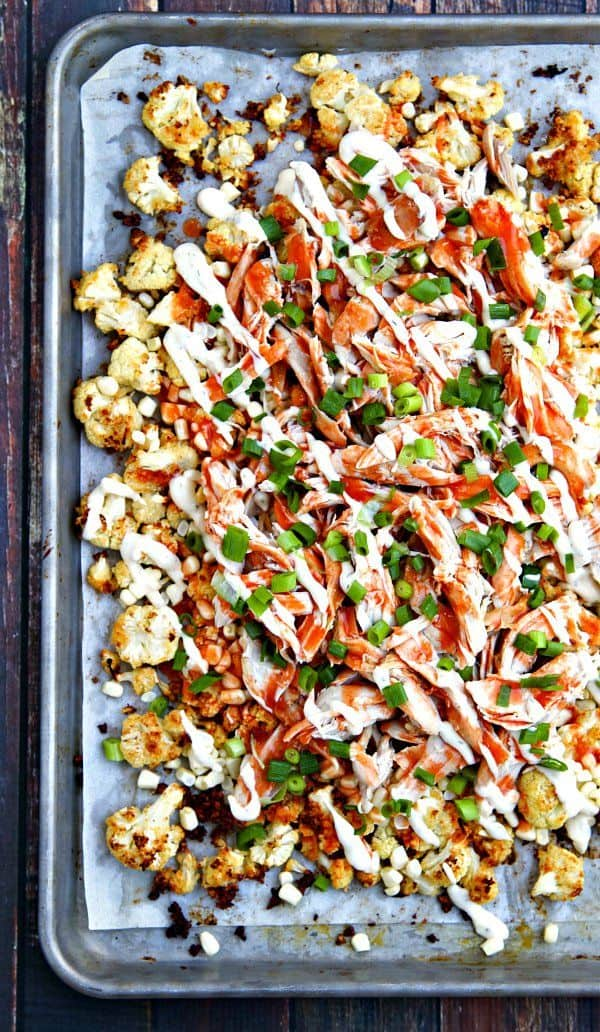 buffalo roasted cauliflower nachos with ranch