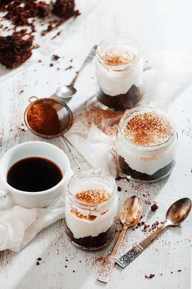 cocoa powder dashed over chocolate tiramisu