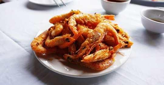 reheated breaded shrimp on a table