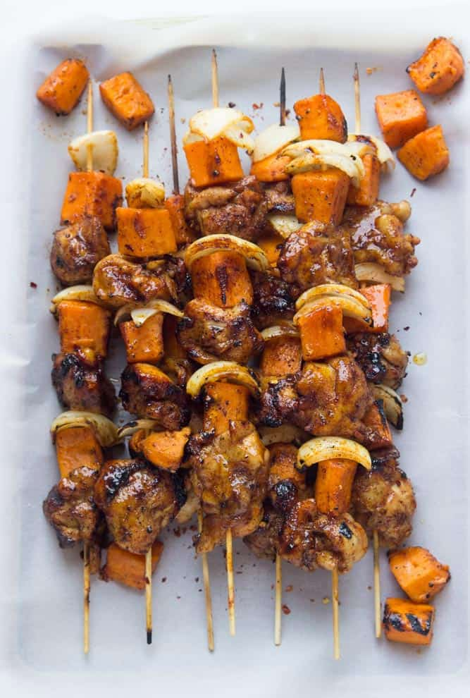 Spicy Honey Glazed Chicken and Sweet Potato Kebabs