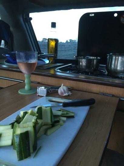 Cooking in Mazda Bongo campervan