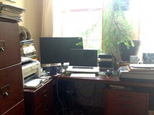 A filing cabinet (left) doubles as a standing desk. A coastal redwood grows above John's FiOS and WiFi hardware on his regular desk.