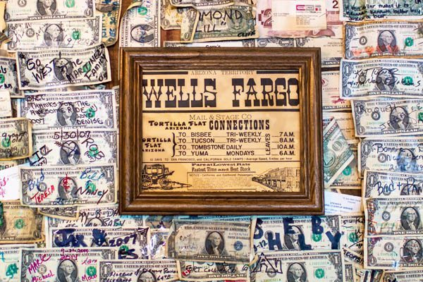 Apache Junction dollar bills from all over the world