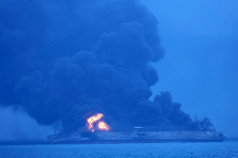 Tanker ablaze in China-afp